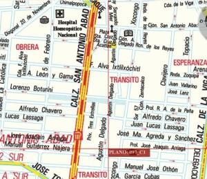 Calles de historiadores en las colonias Tránsito y Obrera, en México D.F.