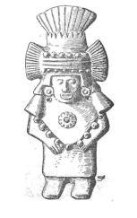 Chalchiuhtlicue, dibujo de una figura de arcilla existente en el Museo Etnográfico, Berlín