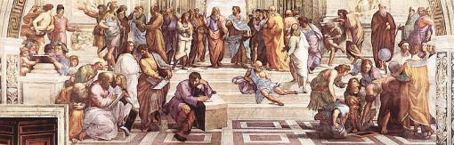 """La Escuela de Atenas, por Rafael. Nótese, al centro, la figura solitaria de Diógenes """"el Cínico"""".  (Fuente: Wikimedia)"""